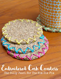 Diy Coasters Diy Embroidered Cork Coasters The Kim Six Fix