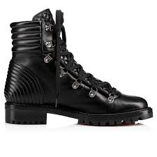 mad boot flat black leather women shoes christian louboutin
