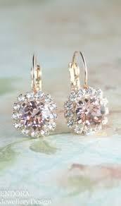 drop earrings wedding gold blush pink swarovski leverback drop earrings