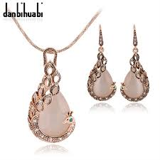 fashion necklace aliexpress images Jewelry sets new fashion kc rose gold filled opal crystal peacock jpg
