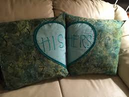 his and hers pillow cases gift pillowcase sewing project sofa pillows his and hers heart