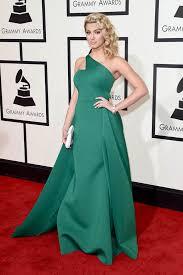 tori kelly green satin one shoulder prom dress grammys 2016 red