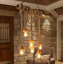 Dining Room Hanging Lights Pastoral Country Bamboo Hemp Rope Pendant Lights Fixture Vintage