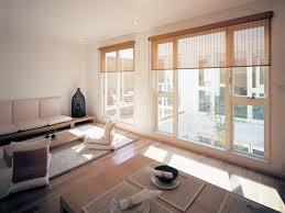 japanese inspired living room wooden table on hardwood flooring