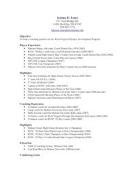 Football Coaching Resume Template How To Write A Soccer Resume For College Free Soccer Recruiting