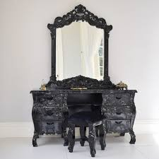 Home Furniture Tables French Rococo Dressing Table Mirror Black With Stool Italian