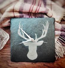 stag head designs stag head design square slate clock u2013 22cm u2013 wall mounting