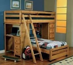 pine loft bed with desk foter