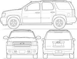 2009 chevrolet tahoe suv blueprints free outlines