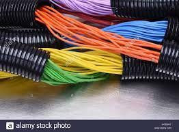 Electric Cable Colorful Electric Cables And Wires In Corrugated Black Plastic