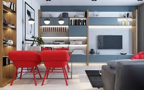 modern apartment with red color accents applied for the decoration
