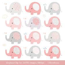 elephant clip art baby shower clipart pink elephants pink gray