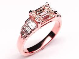 pink gold engagement rings engagement ring horizontal emerald diamond cut step up engagement