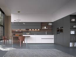 linear kitchen lacquered linear kitchen with integrated handles lt by boffi