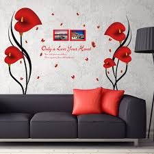 compare prices on red wall decal online shopping buy low price removable red love flowers photo frame wall stickers art wall decals vinyl plane wall stickers mural