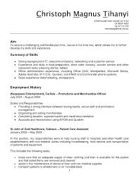 Resident Assistant Job Description For Resume by Resume Computer Skills In Cv Objectives For Internship Resume