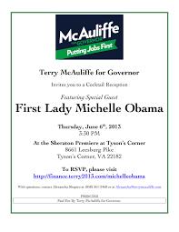 first lady michelle obama u0026 terry mcauliffe june 6th in tyson u0027s