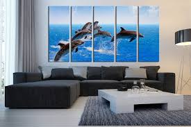 5 piece huge canvas print dolphin canvas photography fish canvas 5 canvas wall art living room multi panel canvas dolphin canvas print blue