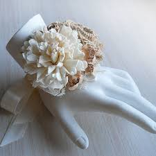 sola flowers rustic burlap sola flower wrist corsage from papernlace on