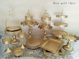 gold wedding cake stand online shop gold wedding cake stand set 14 pieces cupcake stand