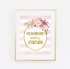 printable baby shower sign headband making station sign blush