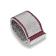 diamond bracelet cuff images Estate jewelry colored gemstones ruby and diamond bracelet png