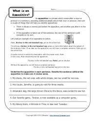 appositive phrase worksheet identify the appositive k12reader