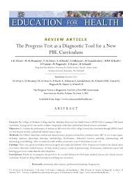 the progress test as a diagnostic tool for a new pbl curriculum