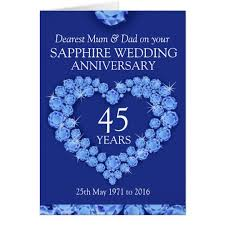 45th wedding anniversary sapphire wedding anniversary and card zazzle co uk