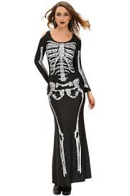 Cheap Women Halloween Costumes Wholesale Cheap Long Skeleton Dress Halloween Costume