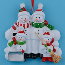 snowman family shovel of 4 polyresin tree ornaments