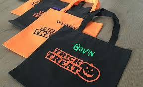personalized halloween trick or treat embroidered bags qualtry