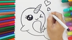 how to draw a cartoon unicorn whale cute and easy bodraw youtube