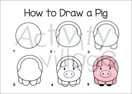 how to draw a pig postcard the small postcard shop