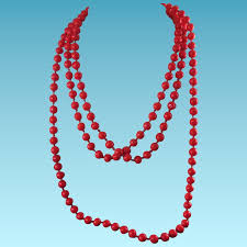 long red necklace images Antique bright red glass bead necklace long 64 quot knotted jpg
