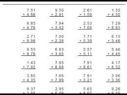 addition worksheets for grade 1 grade 4 decimal addition 1 or 2 digit numbers worksheets