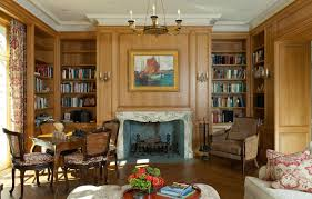 french country living room design with brown varnished wooden wall