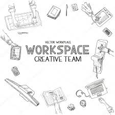 teamwork top view people hands sketch hand drawn doodle office