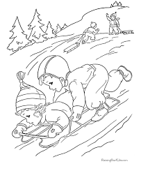 free christmas coloring sheets sledding