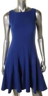 calvin klein new blue sleeveless above knee flare casual dress