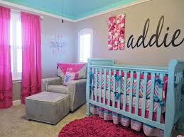 Pink And Teal Curtains Decorating Baby Nursery Awesome Baby Room Decoration With Turquoise Crib And