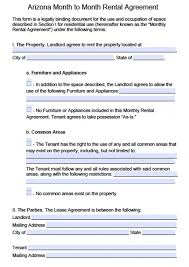 free arizona month to month rental agreement pdf word doc