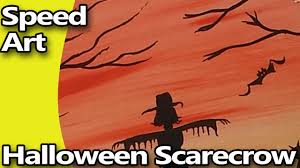 speed art spooky halloween night scarecrow silhouette