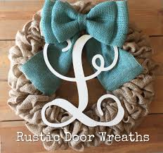 wedding gift bows monogram burlap wreath wood letter front door wreath personalized