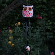 solar powered wind chime light ceramic snowy owl wind chime with solar light colour changing