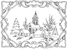 winter scene coloring pages adults google christmas
