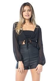 open blouse tie front ruffled open blouse top edgelook