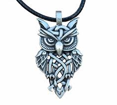 necklace with owl pendant images Celtic owl pendant necklace blue fire store jpg