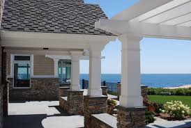 elegant finishing touches on this home and pergola with azek trim