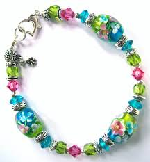 pink glass bead bracelet images Beaded bangles crafthubs jpg